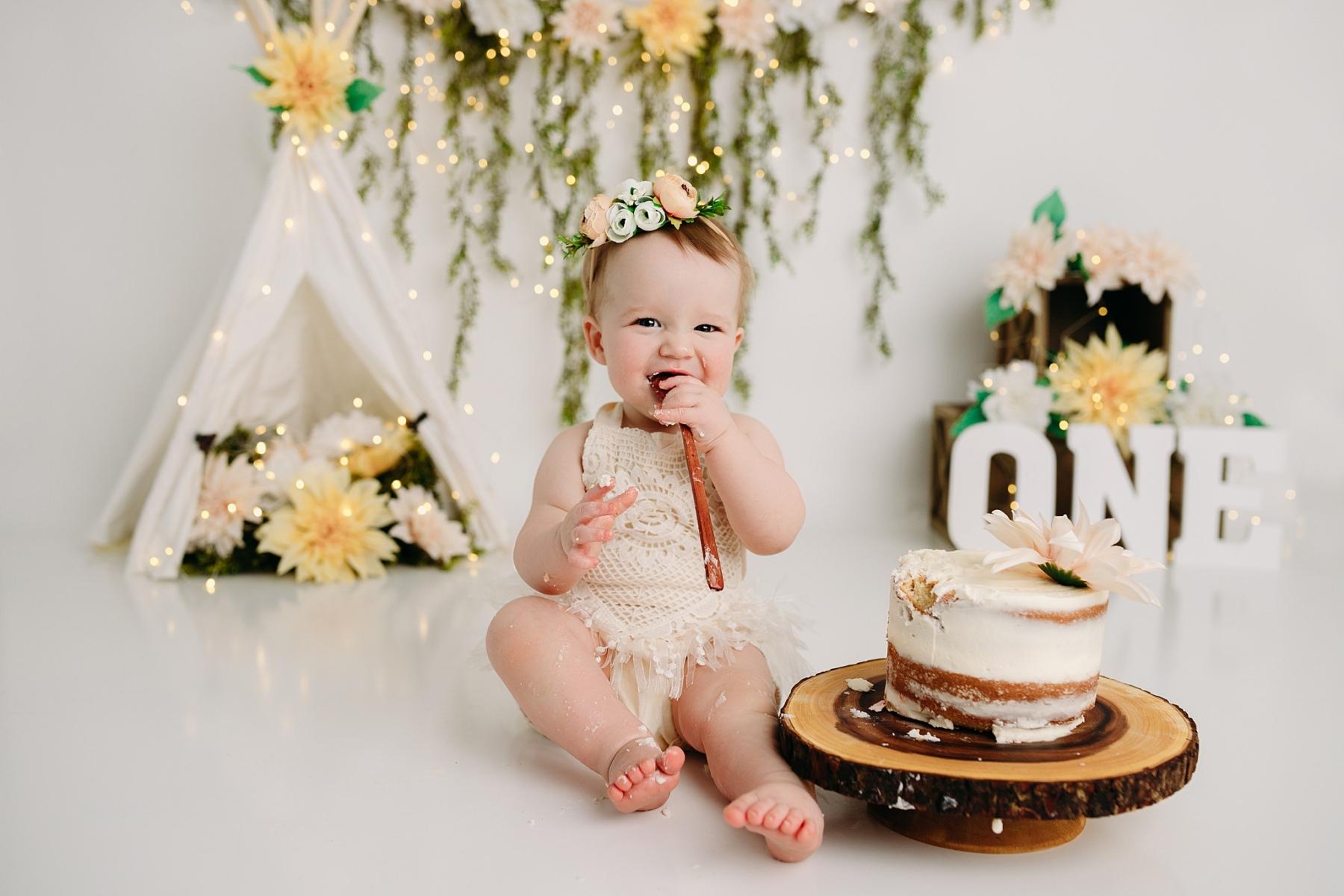 naked cake boho girl cake smash photography studio