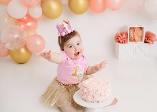Girl pink and gold Balloon Arch Photo Holly Marie photography