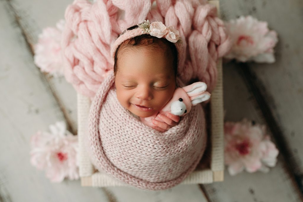 newborn girl swaddled for Indianapolis Photo Studio
